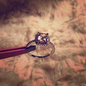 Pink CZ Diamond Ring Engagement Wedding .925